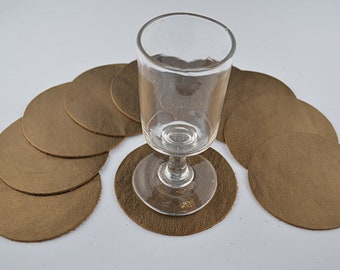 10 golden cowhide leather coasters
