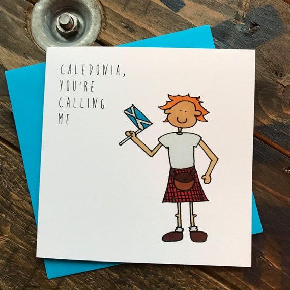 Kaledonia Wee Fergus Ilustrowana Karta Etsy