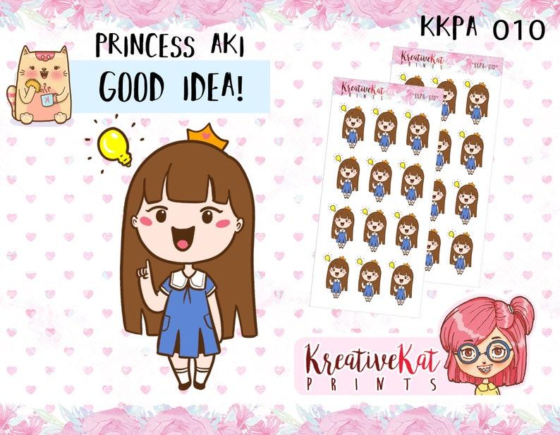 KKPA 010 Good Idea - Princess Aki Planner Stickes Kawaii Stickers / Chibi /  Planner Goodies / Emoji / Emoticon / Cartoon