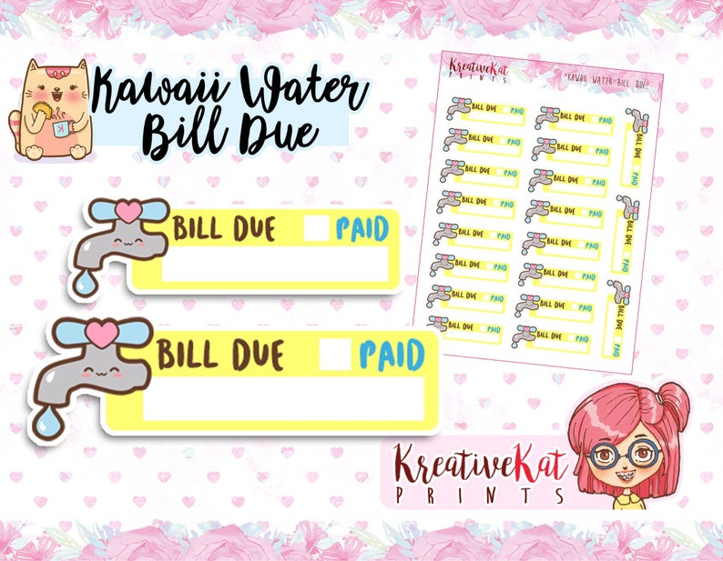 Water Bill Due planner stickers  Bill Reminder  Payment  image 0