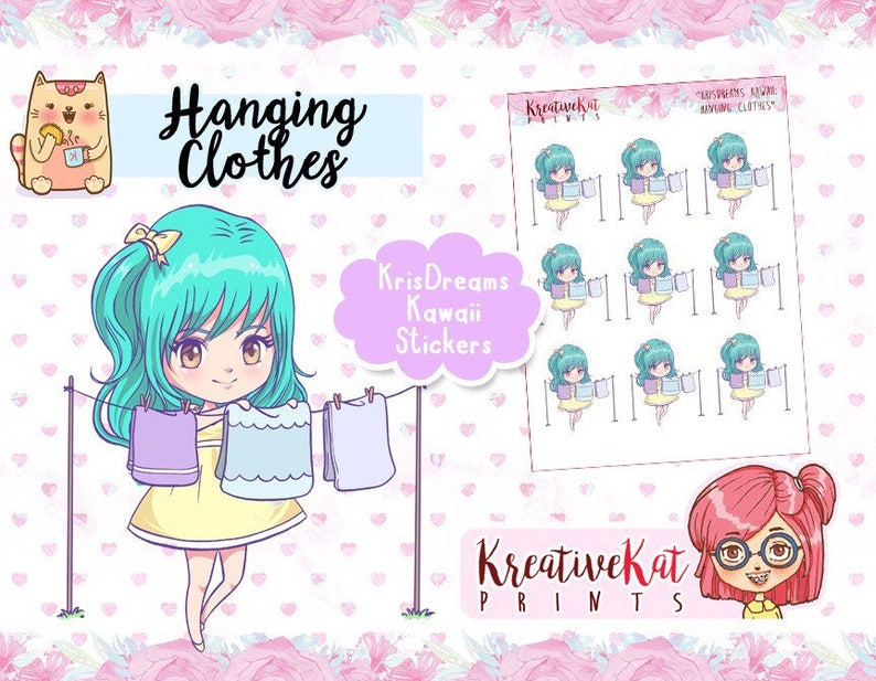 Hanging Clothes  KrisDreams Kawaii Stickers  Planner image 0