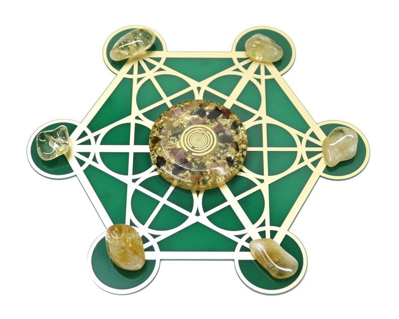 Meditation room crystal grid set, EMF protection Lakhovsky MWO crystal grid  with orgone energy disc, healing goodies