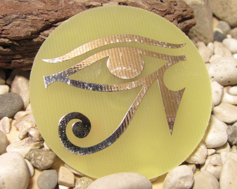 Eye of Horus print plated disc, orgone pendant making, Egyptian decor,  Egyptian eye