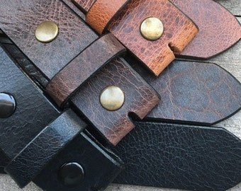 Water Buffalo Leather Belt Blank With Snaps (Glazed or Distressed)