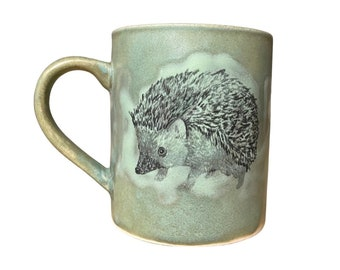 Adorable hedgehogs matte copper green and light green right and left handed mug (12oz) - squee cute cup for hedgehog lovers