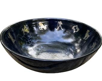 "9"" x 3.5"" black and gold leaf zodiac astrology symbols pasta bowl - stoneware artisan ceramic pottery for charity"
