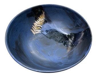 """9"""" x 3.5"""" black, blue and real gold leaf fern botanical pasta bowl - stoneware artisan ceramic pottery for charity"""