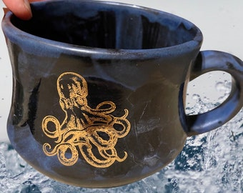 Gold leaf octopus and shells underwater scene hand painted ceramic cup - stoneware pottery   - 14oz