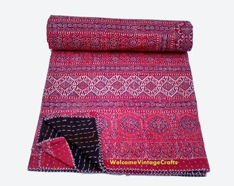 Special Indian Kantha Quilt Handmade hand block print 100% Cotton Bed cover Bedspread Blanket Queen size/ King size Quilt throw Bedcover
