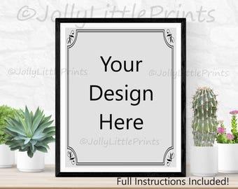 Download Free digital frame mockup digital background art print mockup styled photography mockup stock photo empty frame styled stock frame for artwork PSD Template