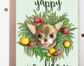 Yappy Pawlidays // Chloe Kardoggian Pet Celebrity Holiday Card // Dog // Chihuahua // Christmas Card