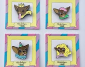 Chloe Kardoggian Kween Unicorn Beauty Bonjour Enamel Pin Limited Edition Collector's Set of 4// Instagram // Dog // Chihuahua