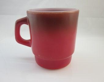 Fire-King Coffee Mug Red Vintage Fire King / Anchor Hocking / Stacking mug / Kitchen Collectible