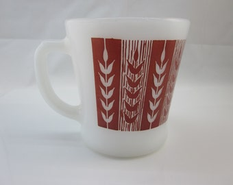 Fire-King Coffee Mug Wheat Pattern Vintage Fire King / Anchor Hocking / Kitchen Collectible