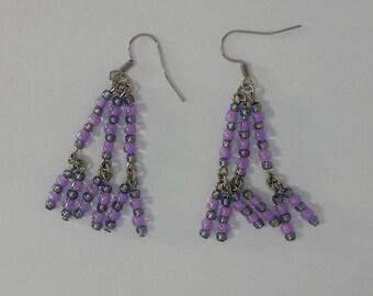 Custom hand made earrings violet glass beads