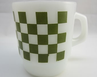 Checkerboard Green Pattern Fire-King Coffee Mug Vintage Fire King
