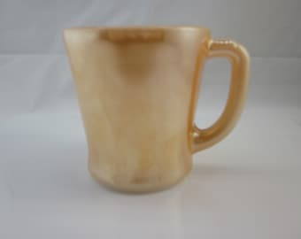 """Fire-King Coffee Mug Peach Lustre """"D"""" Handle Vintage Fire King / Anchor Hocking / Kitchen Collectible"""