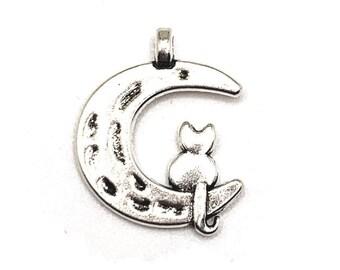 BULK 40 I Love My Cat Charms Antique Silver 13X17mm CM0589S Wholesale Cat pendant beads