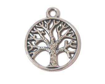 Medium Tree of Life Custom Year Stainless Steel Heart Bead Charm