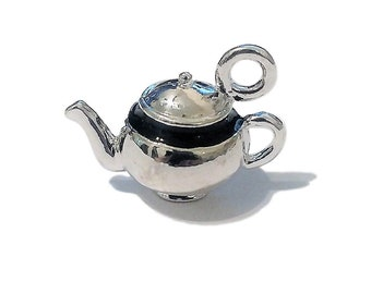 8 BULK, 3D Silver Teapot Charms | Double Sided | Bangle Charm | Mad Hatter | Alice in Wonderland | Tea Party | Ready to Ship USA | AS641-8