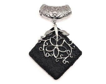 1 or 4 Large Lava Rhombus Diffuser with Bail, Aromatherapy, Essential Oil Diffuser Black Lava Necklace | Ships Immediately from USA | BK1089