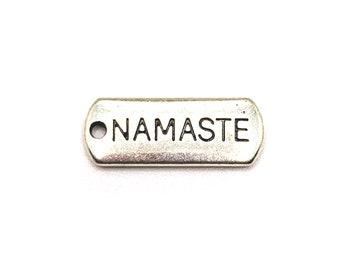 Antique Tibetan silver Namaste Pendant 21x8mm 20pcs--Namaste charms
