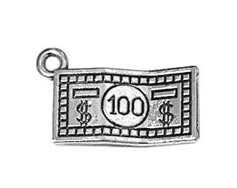 20 or 50 BULK pcs Silver Double Sided Dollar Bill Charms US Seller AS719 4