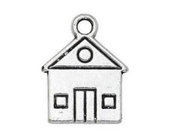 12 House charms antique silver tone P52