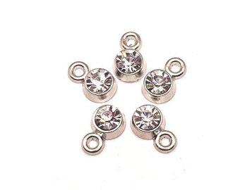 Necklace Earring Bracelet Charm Wholesale co293 Rhinestone Charm Lot 8PCS Gold Tone Zinc Alloy Charm Set Drop Charm Shell Charm Fan Charm