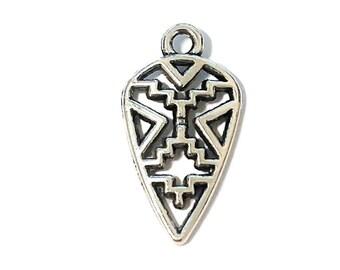 4 Arrowhead Charms | Aztec Charms | Arrowhead Pendant | Silver Arrow | Native American | Ready to Ship from USA | AS135-4