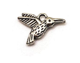 US Seller 4 or 12 pcs Silver Hummingbird Connector Charms AS569