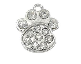 "25 Pcs Tibetan Silver /"" Love my Dog /"" Heart Paw Print Charms Jewellery L2"