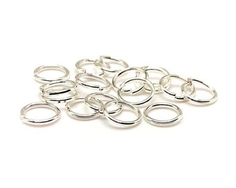 7mm 18gauge 25pcs BRASS Silver Plated Open Jump Rings Findings Earring Necklace