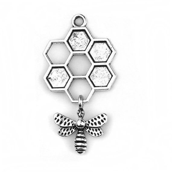 4 x Honeycomb Bee Charm Pendant connectors for jewellery necklace bracelet 25mm