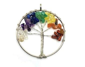 1 or 4 BULK Tree of Life Pendant, Chakra Charm, Quartz Chips, 5 cm, Chakra Pendant | Ships Immediately from USA | SL230