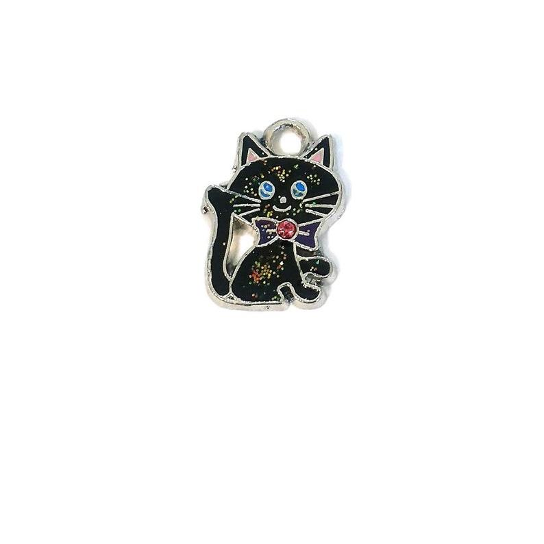 4 or 12 BULK Black Cat Charms, Enamel Glitter Charm, Tuxedo Bow Kitten, Pet  Lover, Halloween Witch | Ships Immediately from USA | EN065