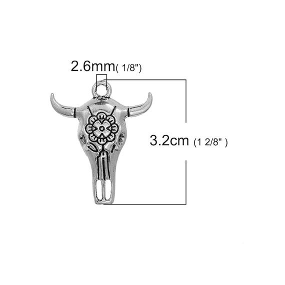 US Seller 4 or 20 BULK pcs Silver Cattle Skull Western Charms AS391