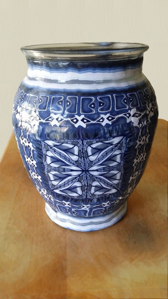 Blue And White Chinese Style Polymer Clay Glass Vase Etsy