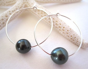 TAHITIAN Pearl Earrings, Sterling Silver Hoop Earrings, Pearl Hoop Earrings, South Sea Pearl Earrings, 14k Gold Hoop Earrings, Free Shipping