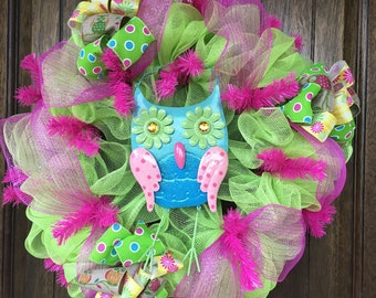 Spring Wreath, Pink and Green Wreath, Owl Wreath, Pink Decor