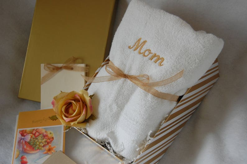 Bath Towel Gift Basket Mothers Day Gift Personalized