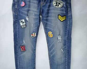 7750715e782406 Distressed Denim Japanese Brand Rare Patches Distressed Jeans Skinny Fit  Size US 33