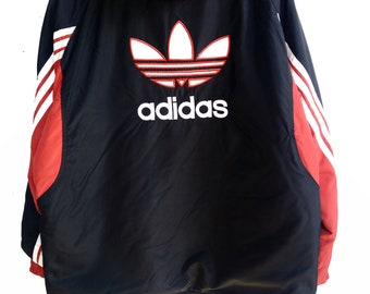 f6aa3eb553 Vintage Long Jacket Color Block Adidas Embroidered Big Logo Hoodie Jacket  90s Made In Spain Size  US L   EU 52-54   3