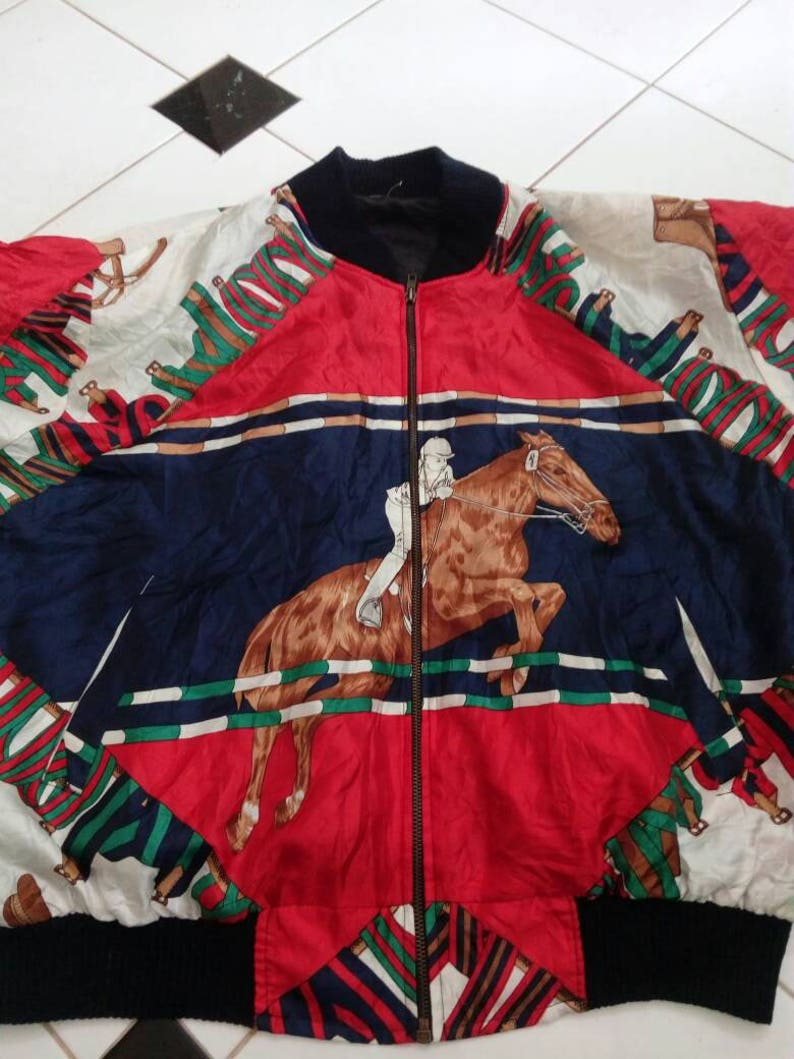 a6793bb6bafe Ecco Jacket Satin Equestrian Big Logo Over Print Vintage | Etsy