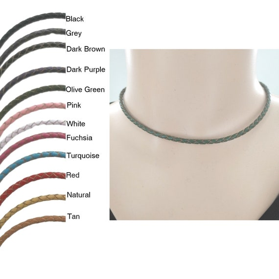 3mm Natural Braded Leather Cord Necklace with Sterling Silver Clasp and Length Choice up to 30 21
