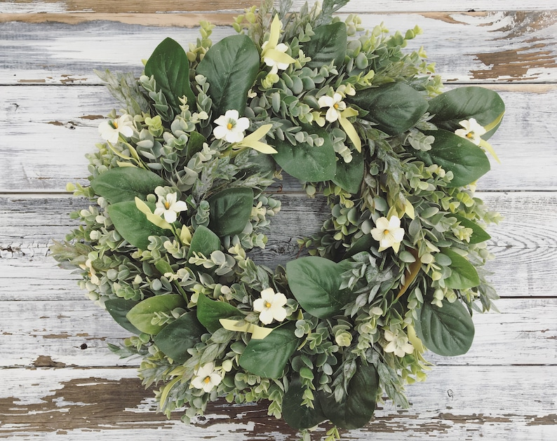Spring Wreath Spring Decor Farmhouse Wreath Magnolia Etsy