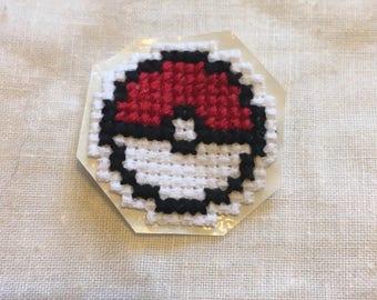 PokeBall Cross Stitch Patch