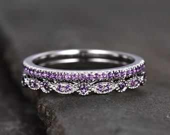 d8f347c7d Unique Sterling Silver Ring Amethyst Wedding Ring Set Art Deco Wedding Band  Half Eternity Matching Band Anniversary Gift