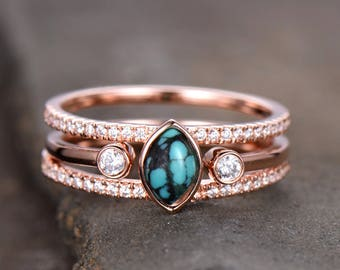 aaa5670d85 Turquoise Ring Sterling Silver Vintage Turquoise Wedding Ring Set 4x6mm  Marquise December Birthstone Unique CZ Diamond Band Rose Gold Plate