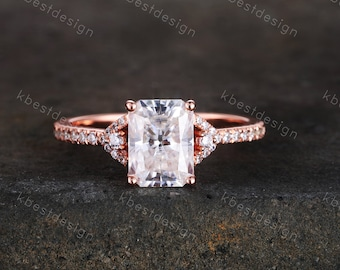 Women/'s Promise Ring Womens Wedding Ring Radiant Cut Halo CZ Ring Gift Ideas Rectangle CZ Halo Art Deco Dainty Engagement Ring